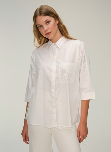 NGSTYLE Cep Detaylı Poplin Gömlek Beyaz